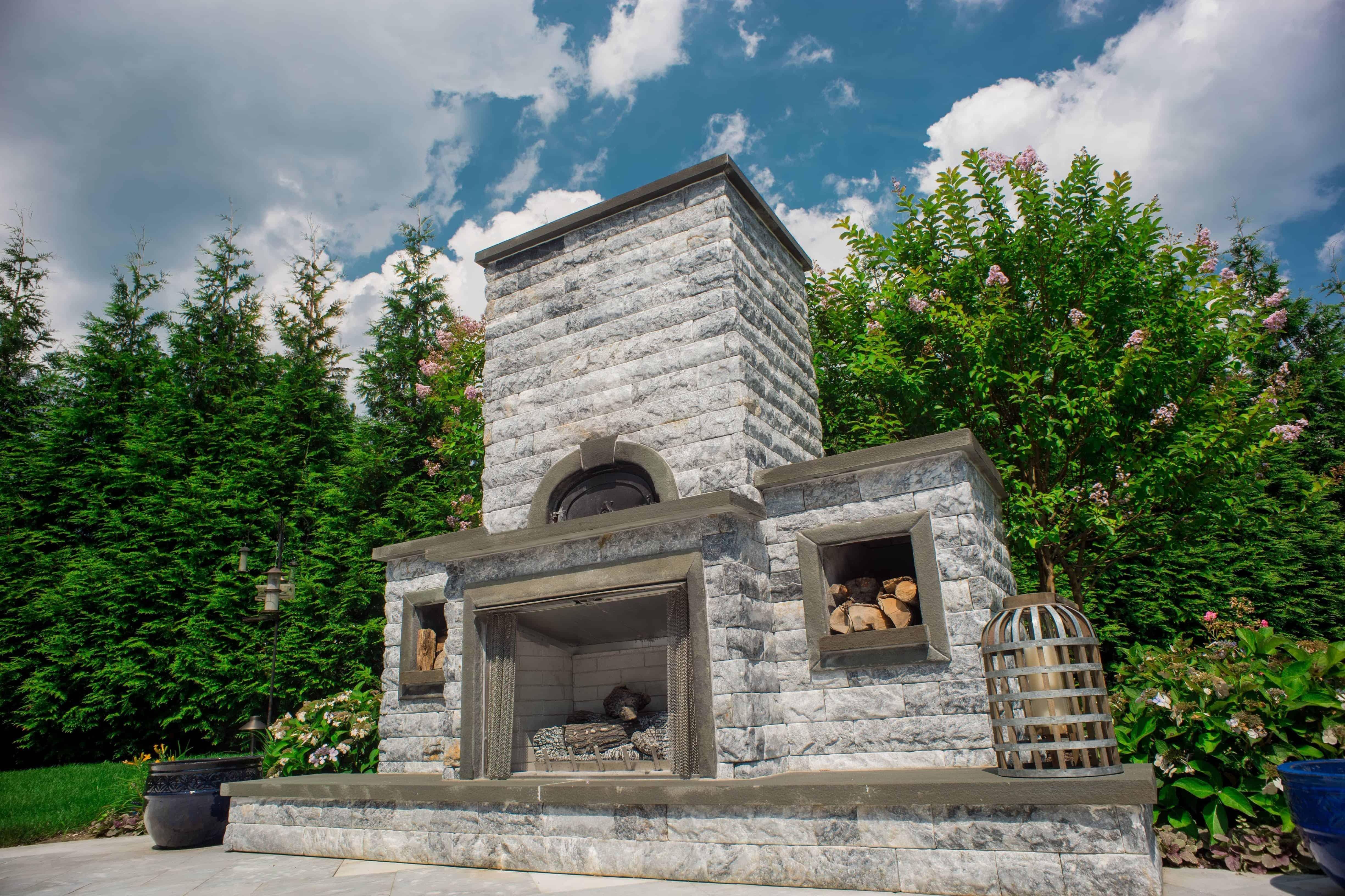 Grand Outdoor Fireplace with Pizza Oven - Marmiro Stone - Deep Blue - Plandome Manor, Long Island NY