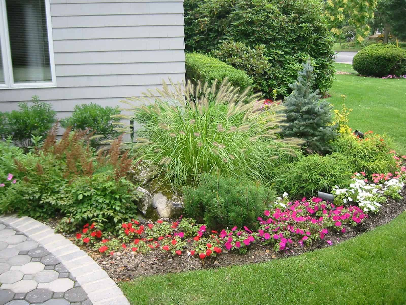 Landscape Plantings - Dwarf Fountain Grass, Baby Blue Eyes Spruce, mixed annuals and perennials - Babylon, Long Island NY