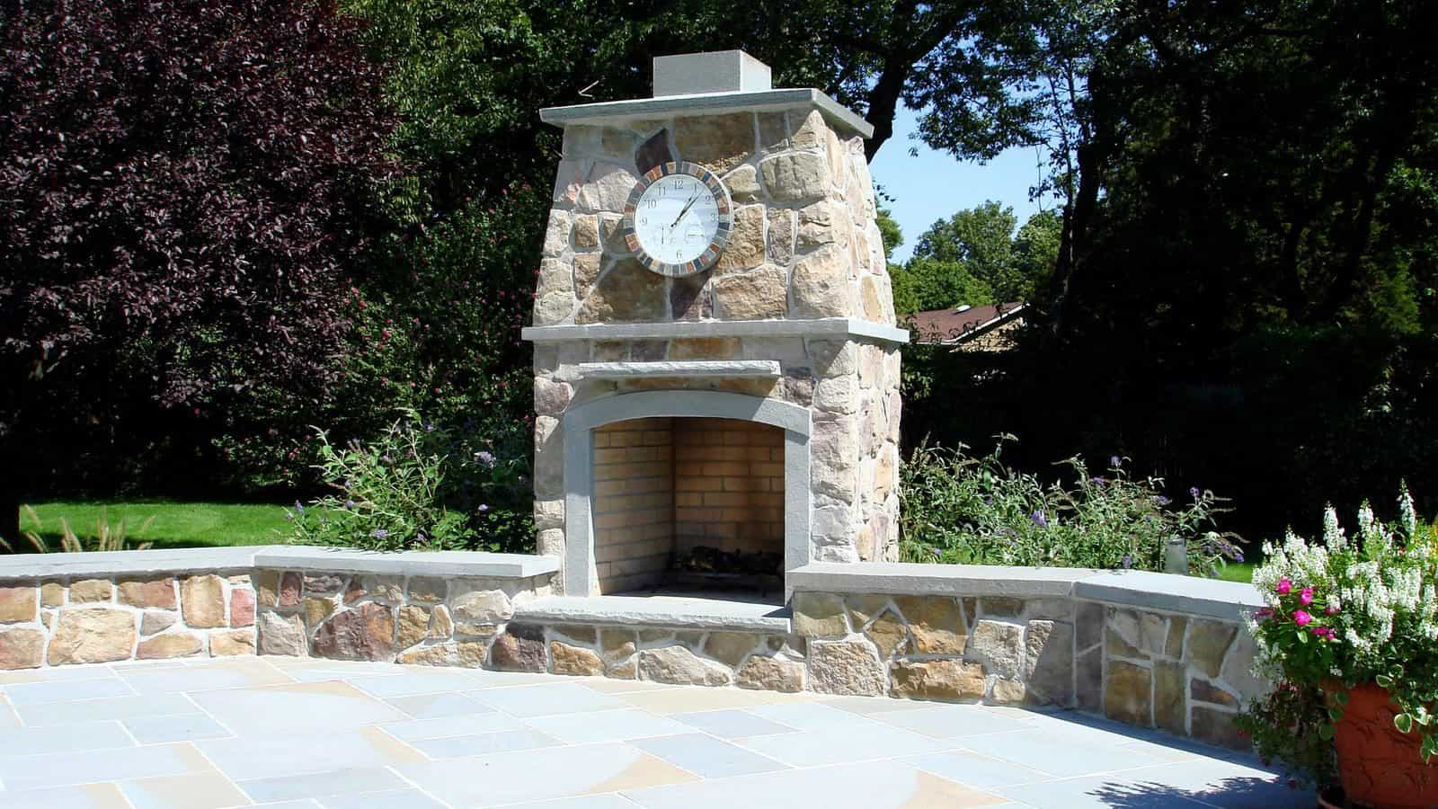 Outdoor Fireplace - Bucks County Dressed Fieldstone with rockfaced Bluestone accents - Huntington, Long Island NY