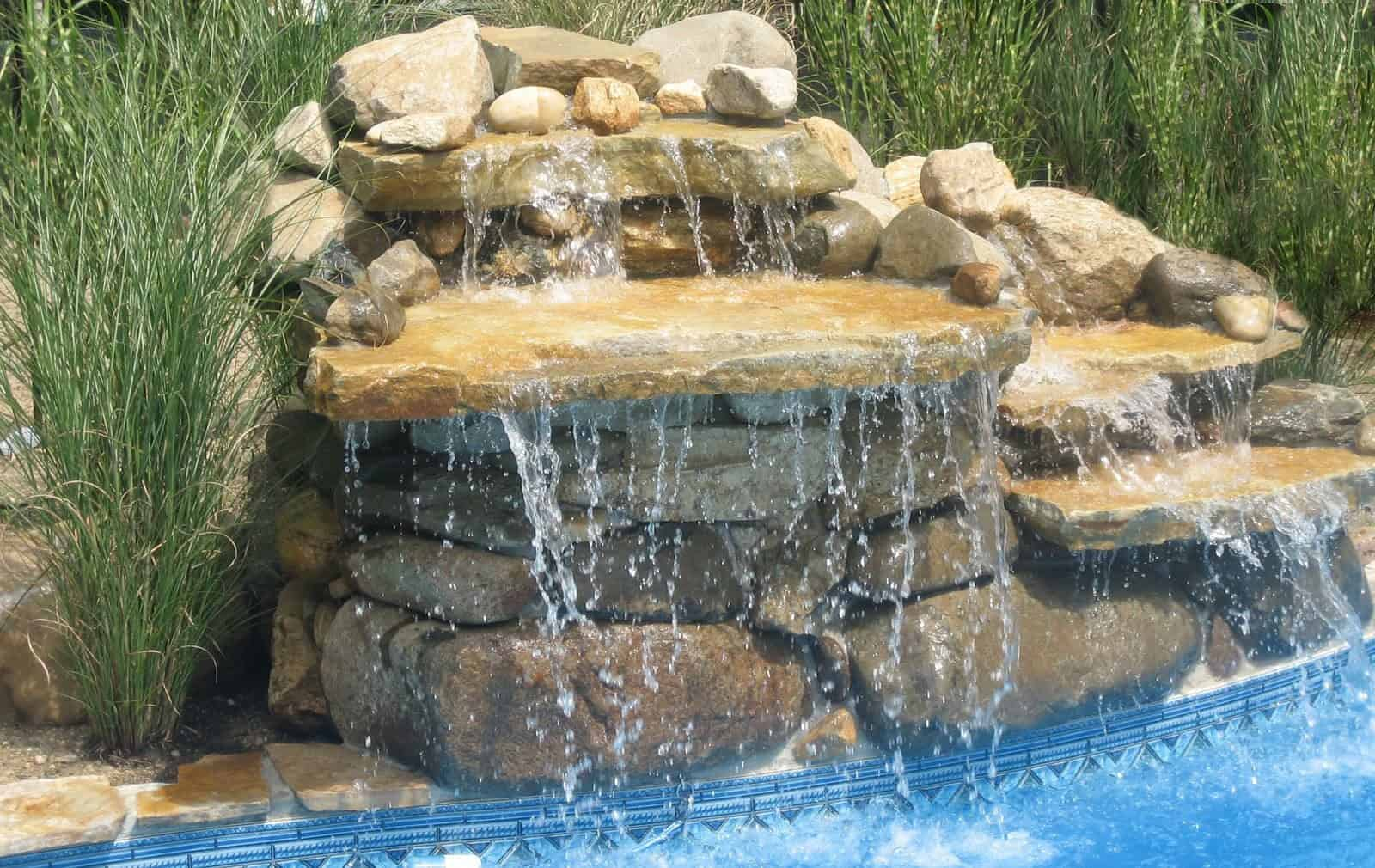 7' Long Island Boulder Waterfall into Pool - Dix Hills, Long Island NY