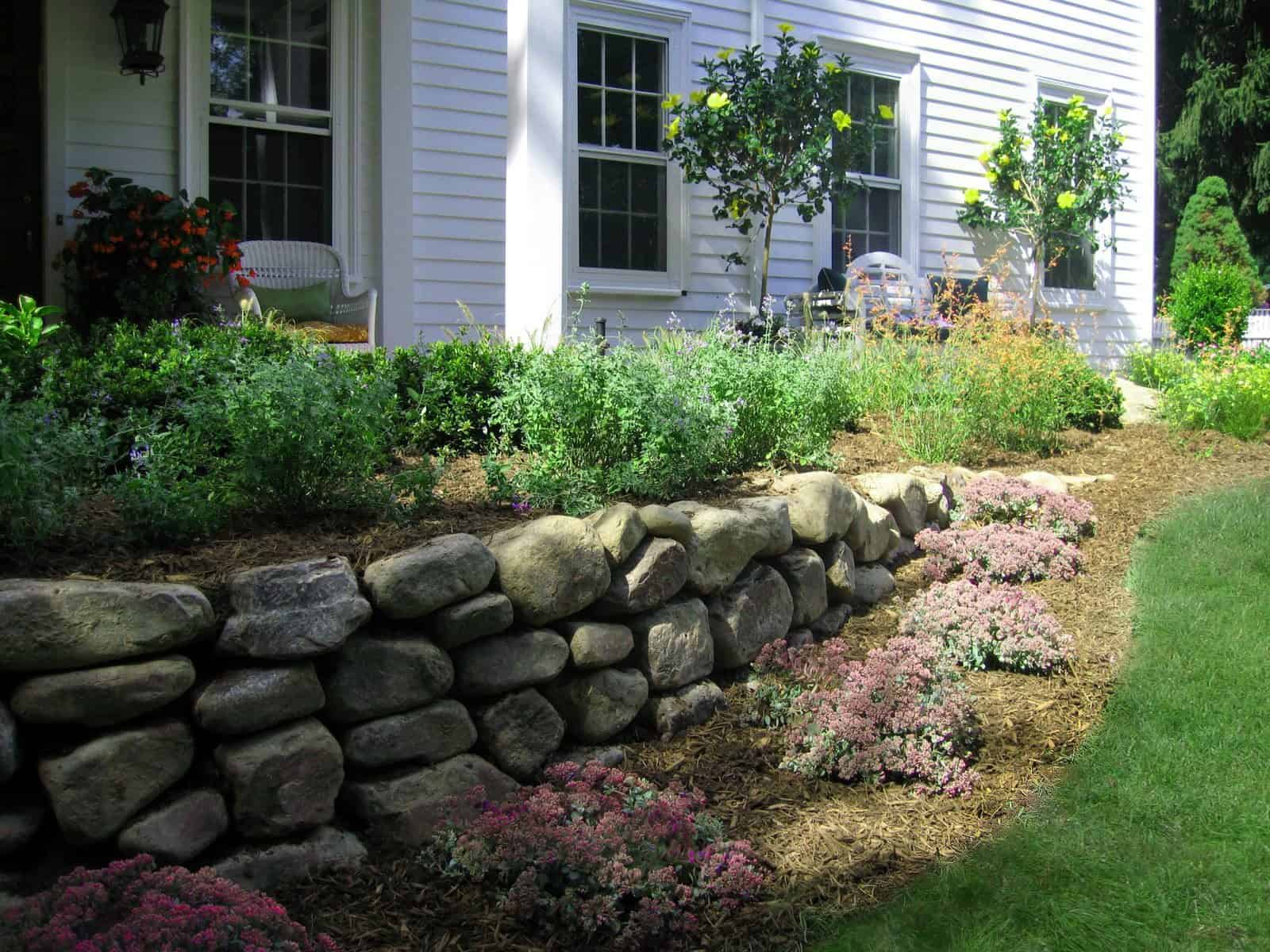 Landscape Plantings - Sedum Fulda Glow with mixed perennials - Brookville, Long Island NY