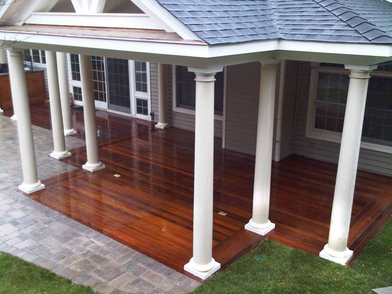 17' x 23' Outdoor Room with pitched roof and columns - Roslyn, Long Island NY
