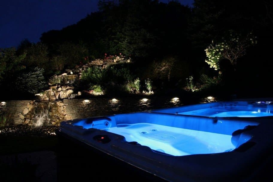 20' x 8' Swim Spa with resistance pool and seperate hot tub equipped with LED Lighting - Roslyn, Long Island NY