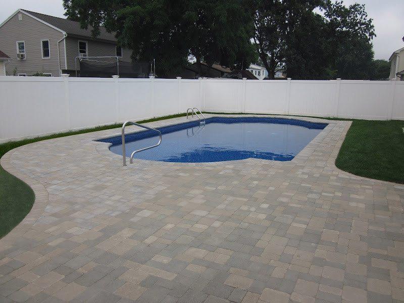 Paver Patio - Unilock Tumbled Brussels Block Pool Patio - Sandstone and Limestone Mix - Fullnose Coping - Lindenhurst, Long Island NY