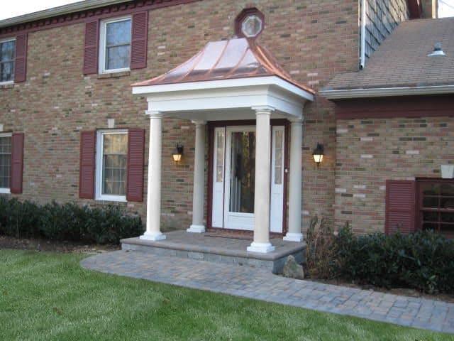 Paver Walkway - Cambridge Ledgestone Paver Walkway - Toffee Onyx - with custom Portico and paver stoop - Dix Hills, Long Island NY