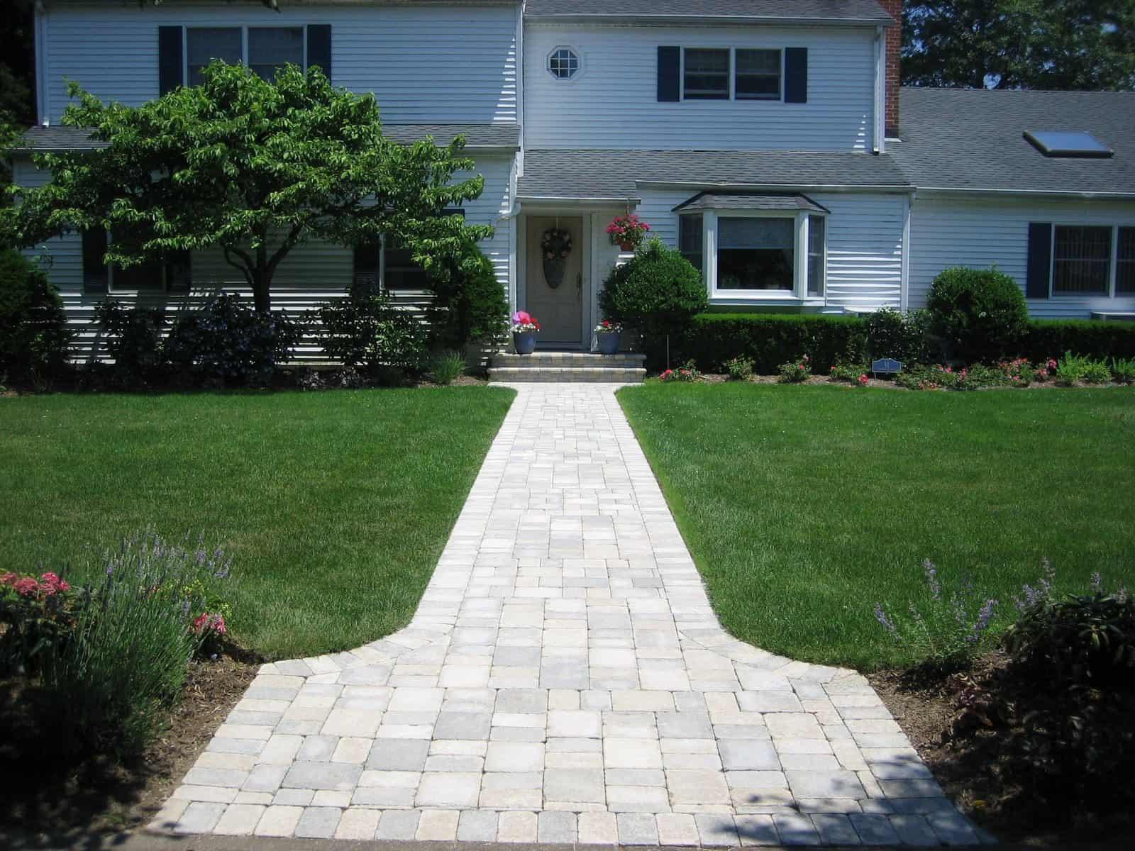 Paver Walkway - Unilock Tumbled Brussels Block Paver Walkway - Sandstone and Limestone Mix - Random Pattern - Babylon, Long Island NY