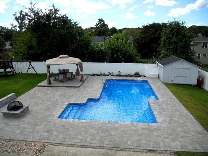 16' x 32' Staggered L shape Vinyl Liner Pool - Stony Brook, Long Island NY