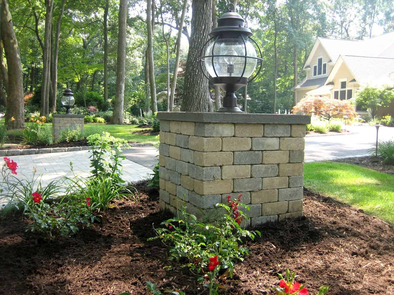 Entrance Piers - 2' x 2' x 2' Masonry Pier - Unilock Brussels Block - Color - Sandstone/Limestone with Thermal Blustone Cap and Fixture - Dix Hills, Long Island NY