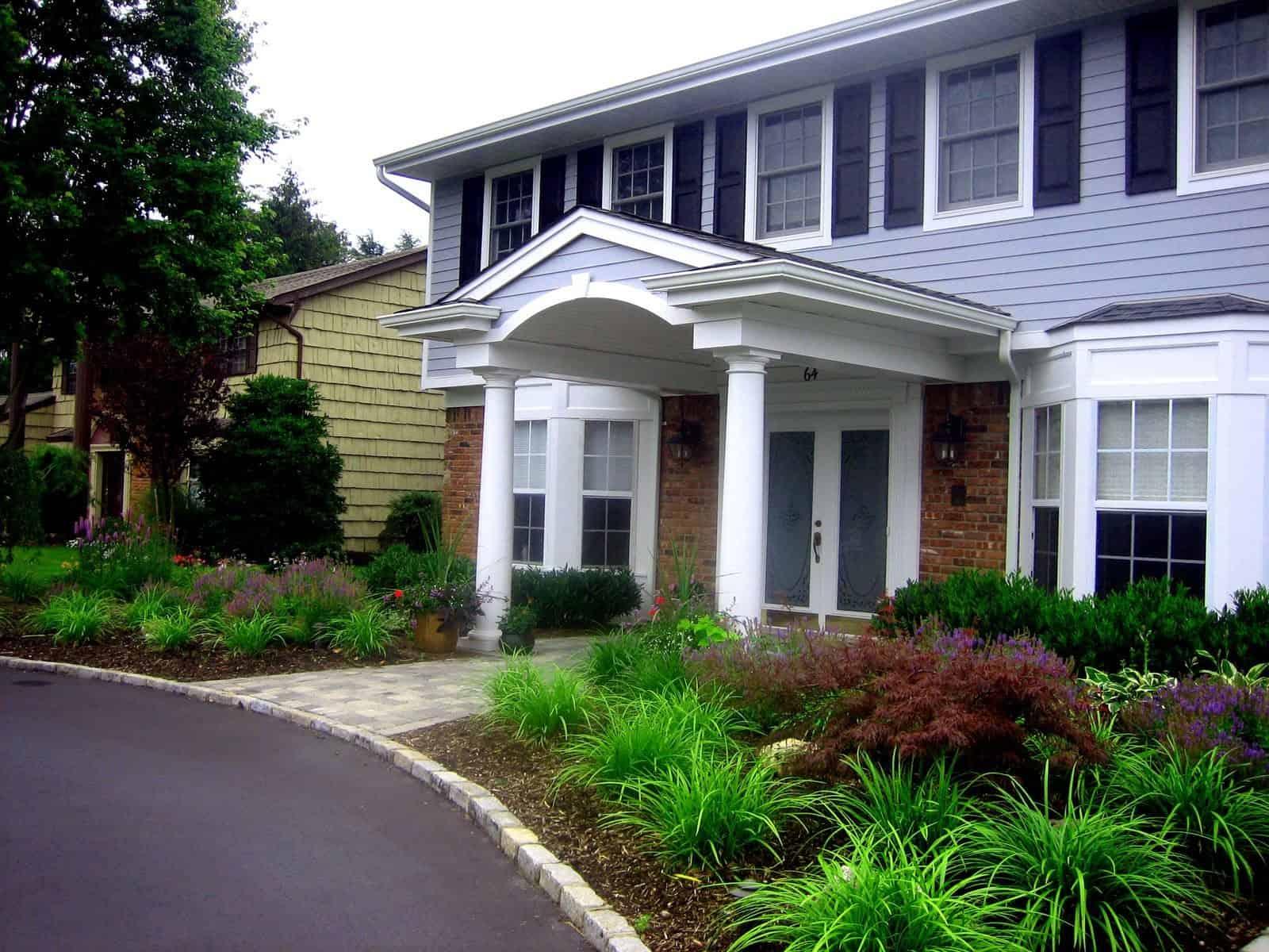 Landscape Plantings - Liriope Big Blue, Dwarf Japanese Maple, Cherrylaurel Otto Luyken - West Islip, Long Island NY