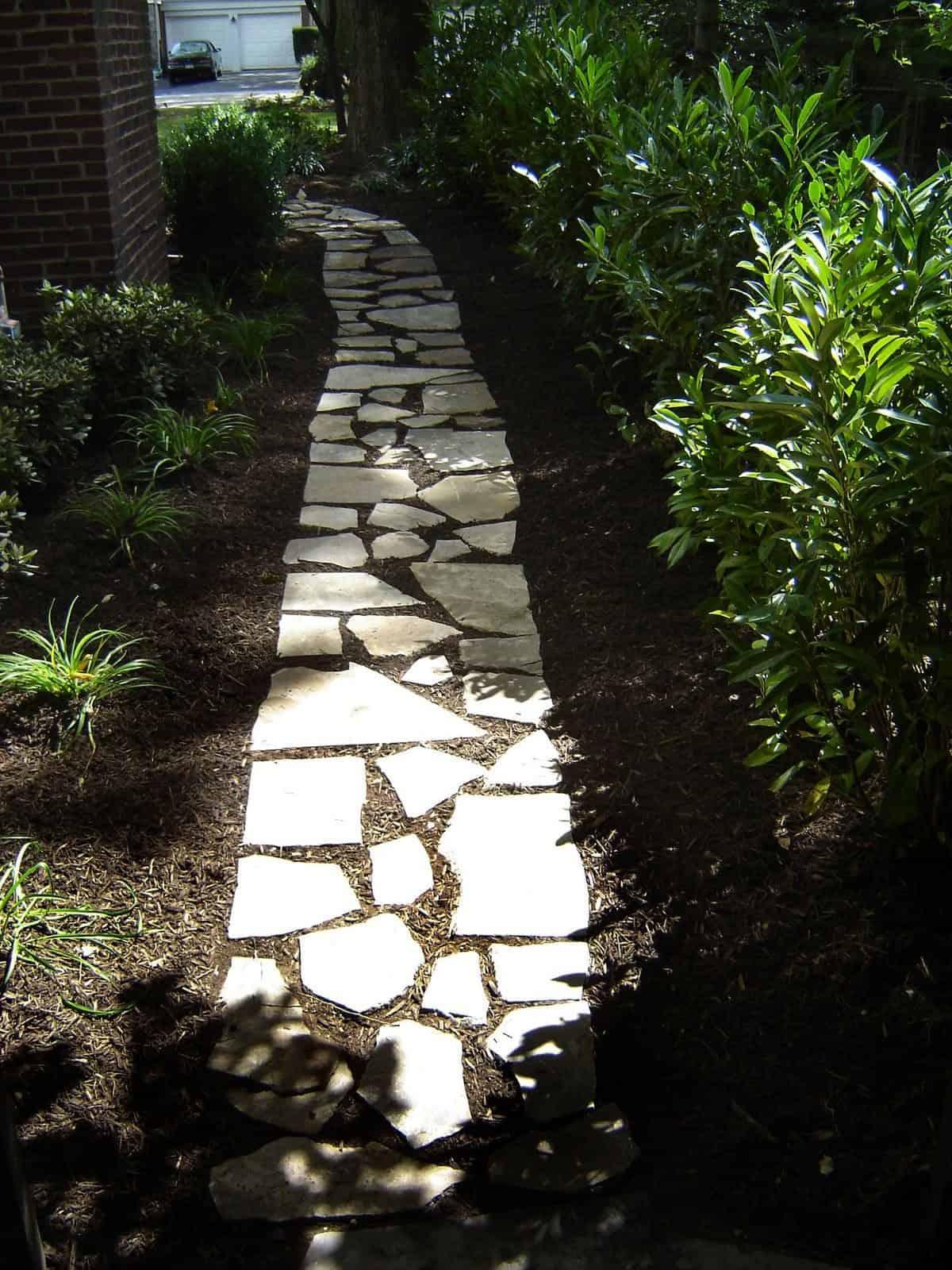 Natural Walkway - Irregular Bluestone Stepping Stone Path - Syosset, Long Island NY