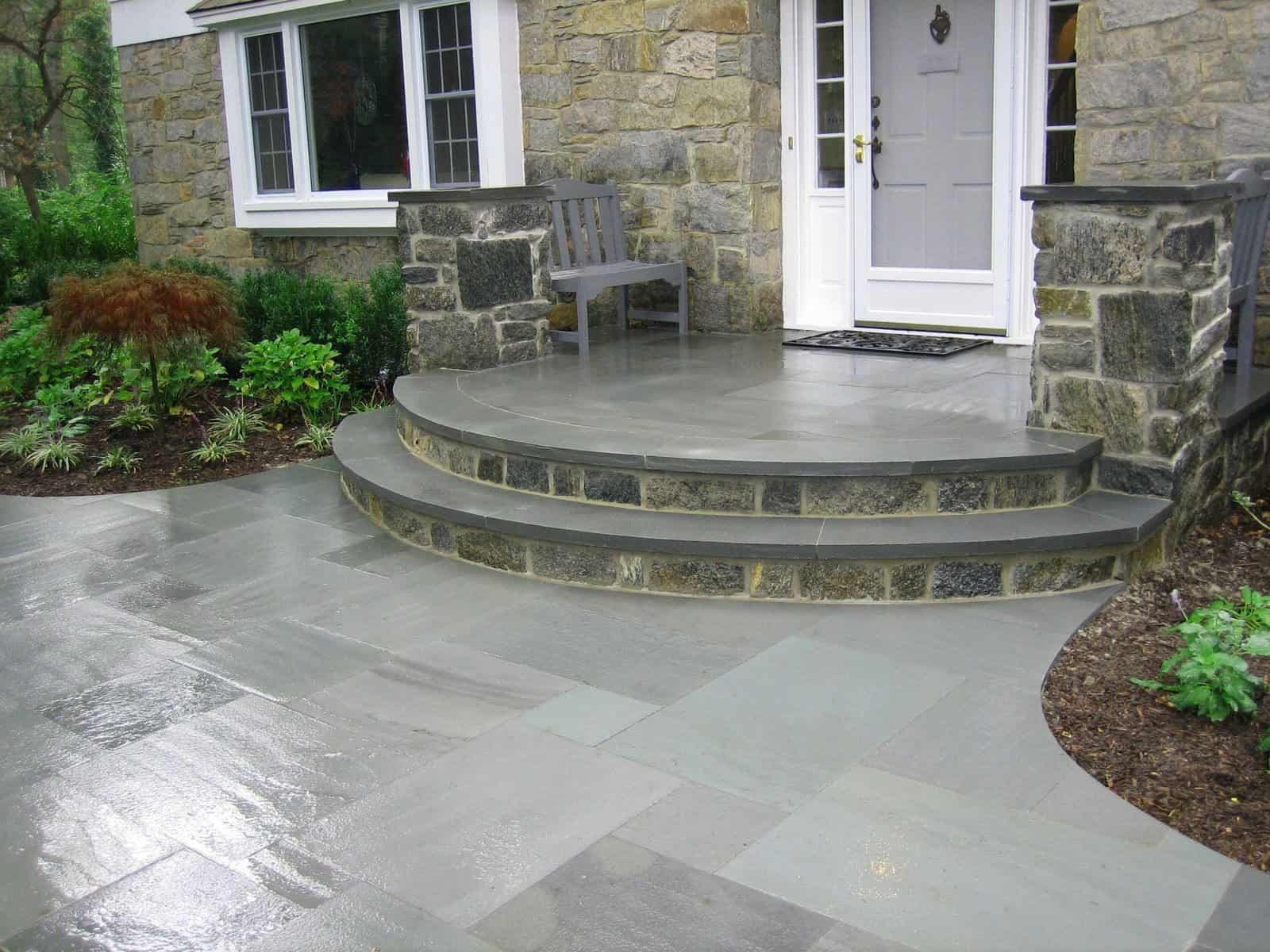 Natural Stone Walkway - 1 inch Thermal Bluestone Walkway and Stoop - Random Pattern - Merrick, Long Island NY