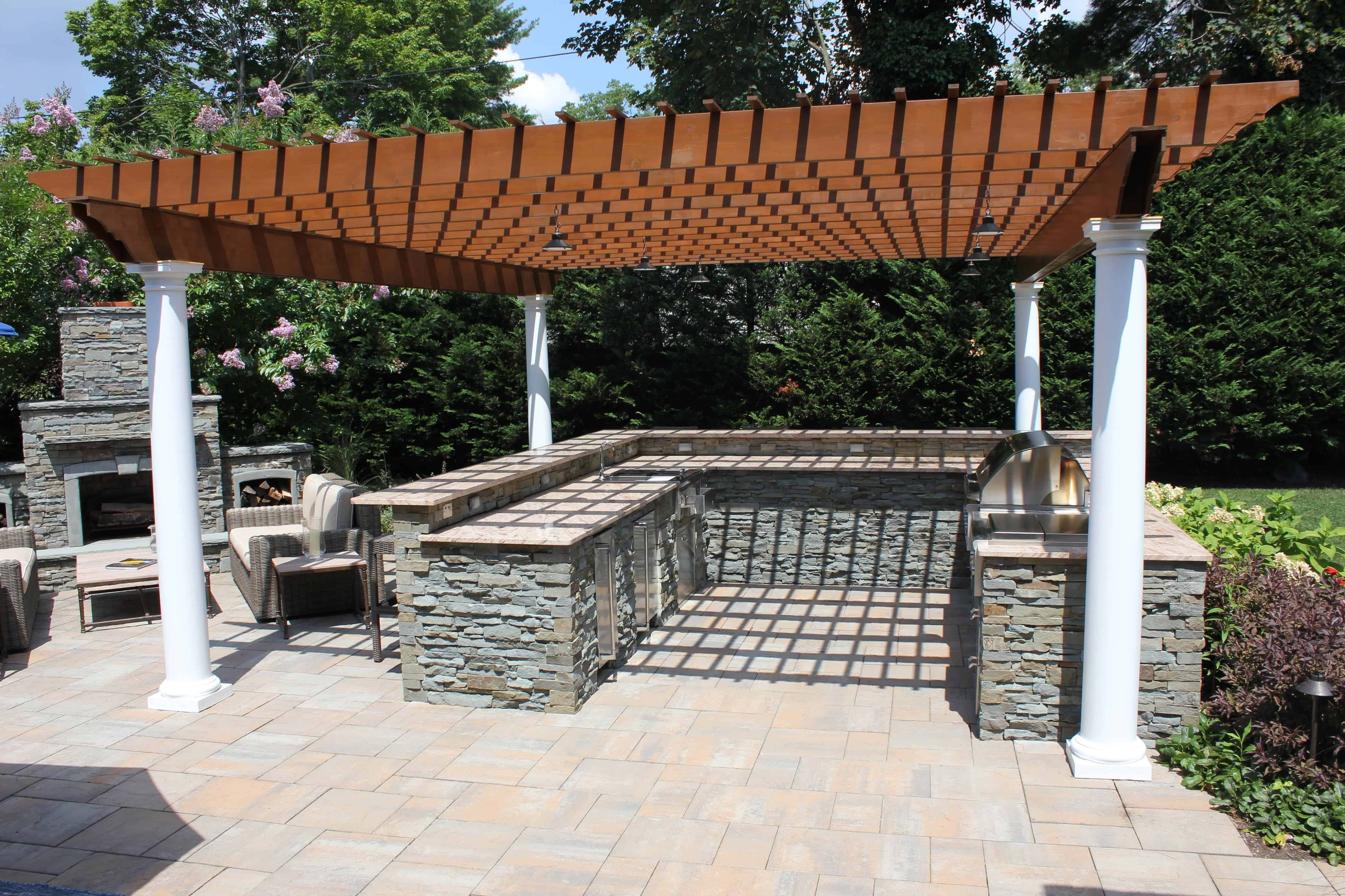 Pergola with LED Lighting in Roslyn Heights, Long Island NY
