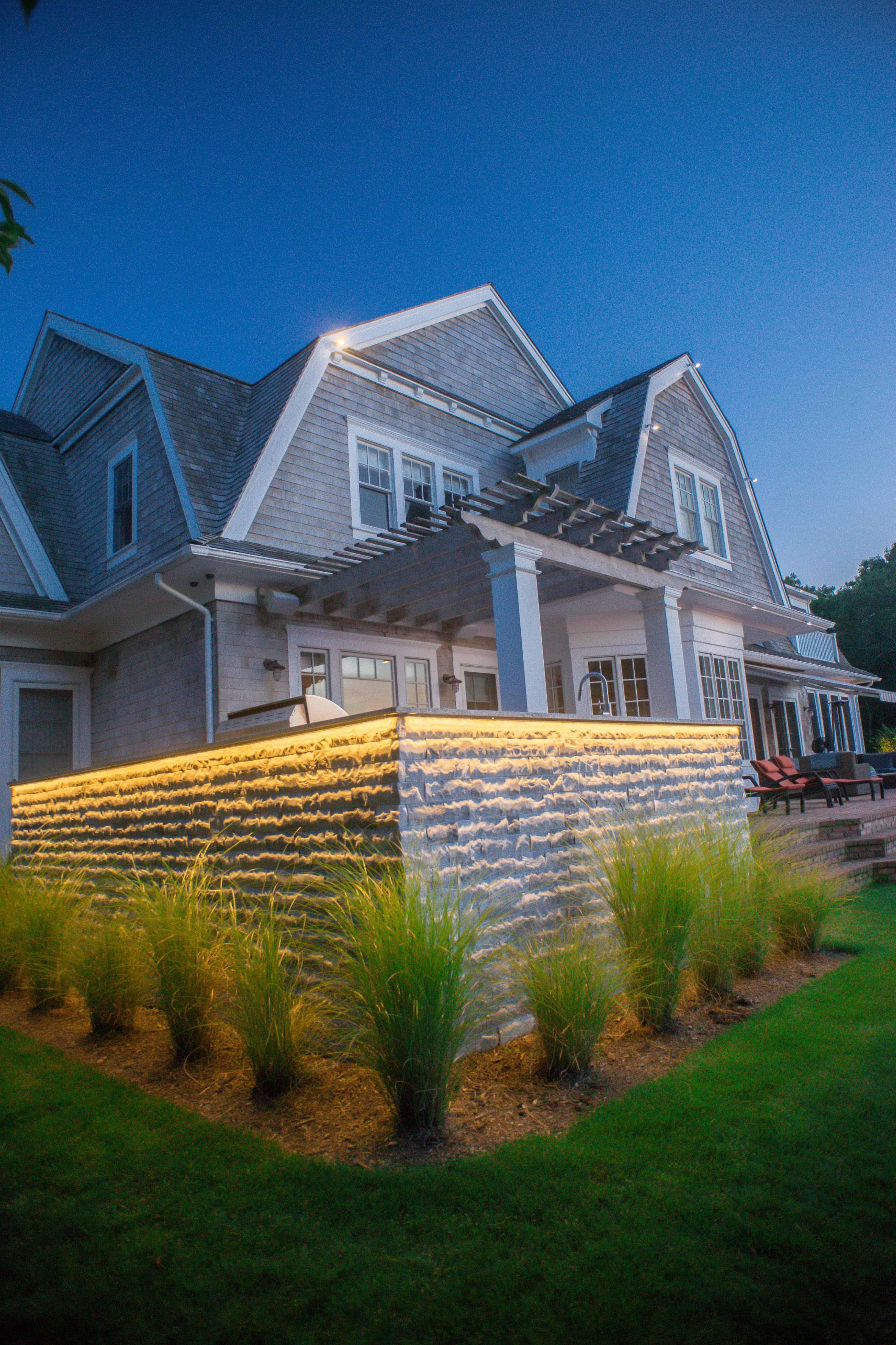 Outdoor Kitchen with LED Lighting and Marmiro Stone Veneer - Deep Blue - Southampton, Long Island NY