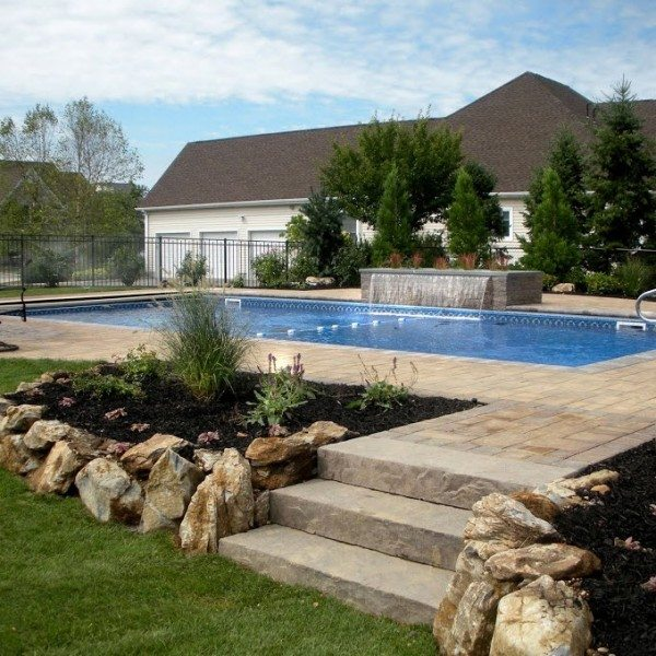 18′ x 42′ Pool with Full Length Steps & In-Coping Automatic Cover