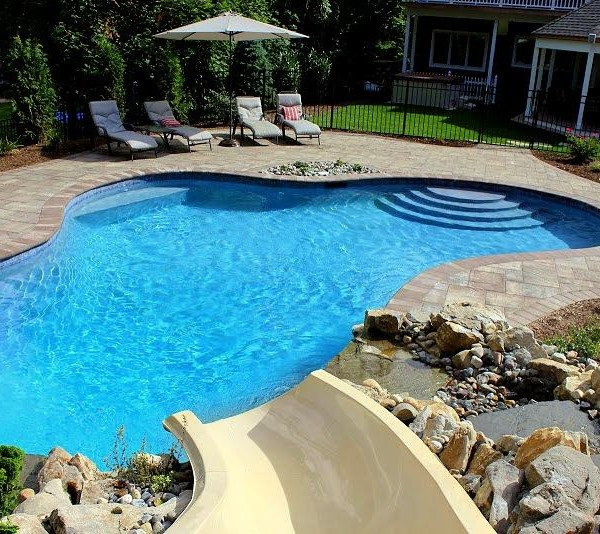 "24 x 35 ft. Free-Form Gunite Pool w/ Custom Bench, Slate Tile & ""Big Ride"" Slide w/ Natural Moss Rock Waterfall"