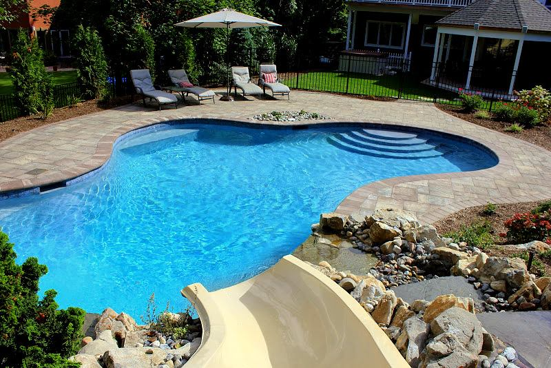 Free Form Gunite Pool W Custom Bench Slate Tile Big Ride Slide Natural Moss Rock Waterfall