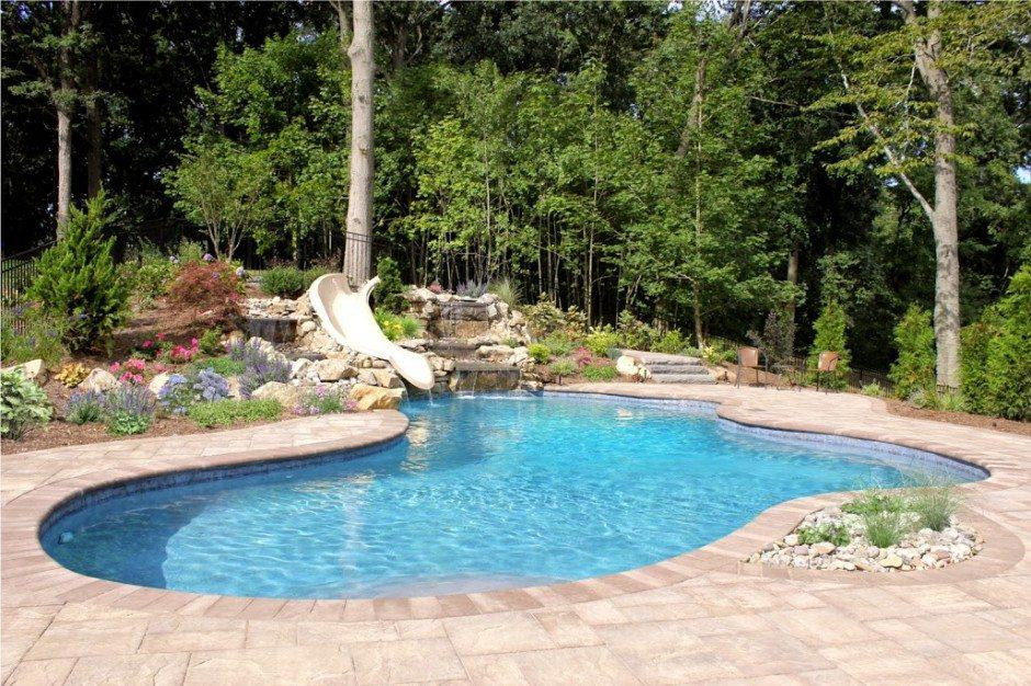 24 X 35 Free Form Gunite Pool With Custom Bench Slate Tile And Ride Slide
