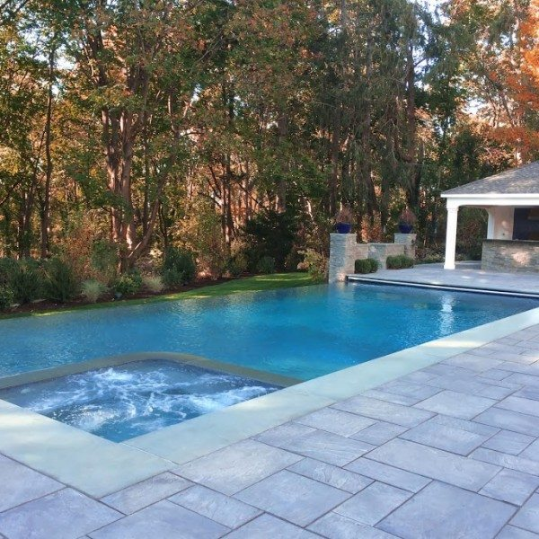 24′ x 44′ Gunite Pool with 44′ Infinity Edge, 8′ x 8′ Custom Spa, and Automatic Cover