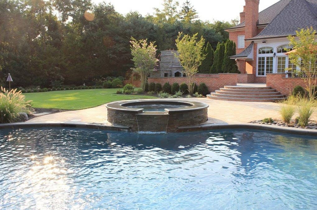 Free Form Custom Gunite Pool With Sheer Descent Waterfalls