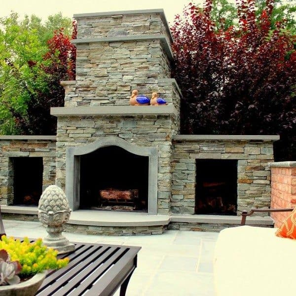 12 ft. Wood-Burning, Stacked Bluestone Fireplace with Bluestone Accents