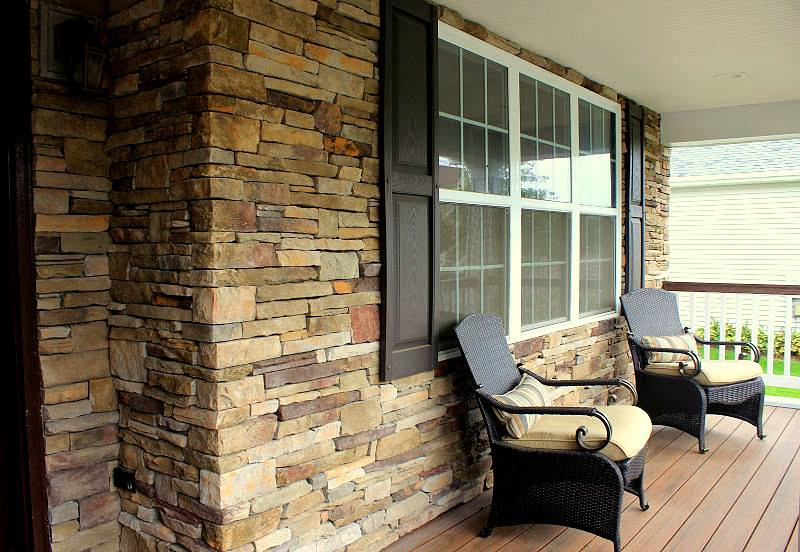 Façade Veneered With Cultured Stone Southern Ledgestone In ...