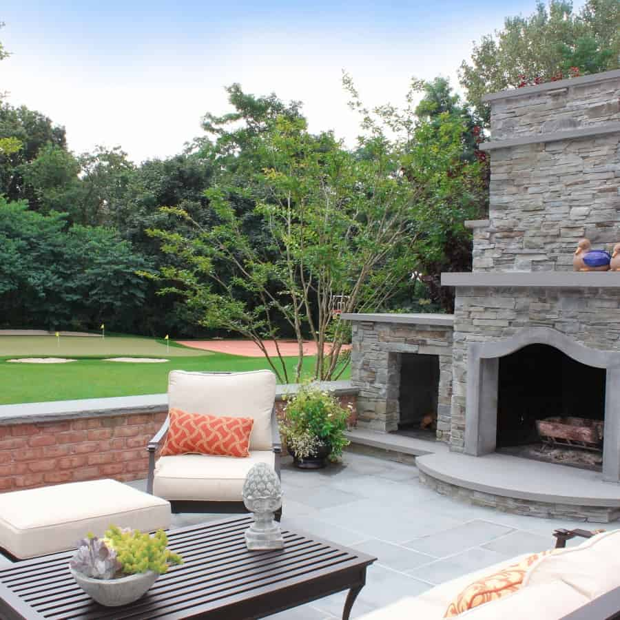 Stacked Bluestone Fireplace with Bluestone accents - Old Westbury, Long Island NY