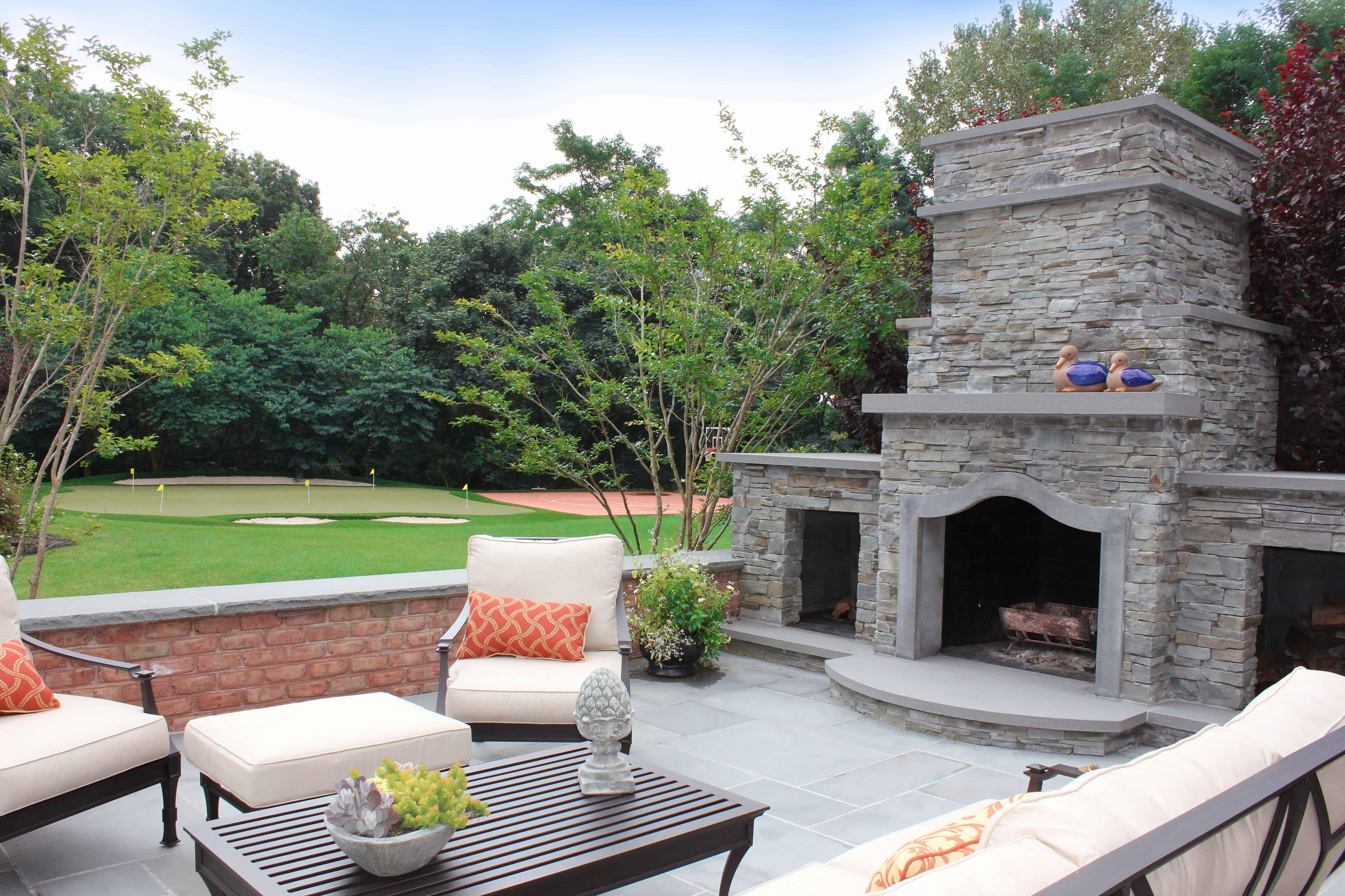 Stacked Bluestone Fireplace with Bluestone accents - Old Westbury, Long Island NY