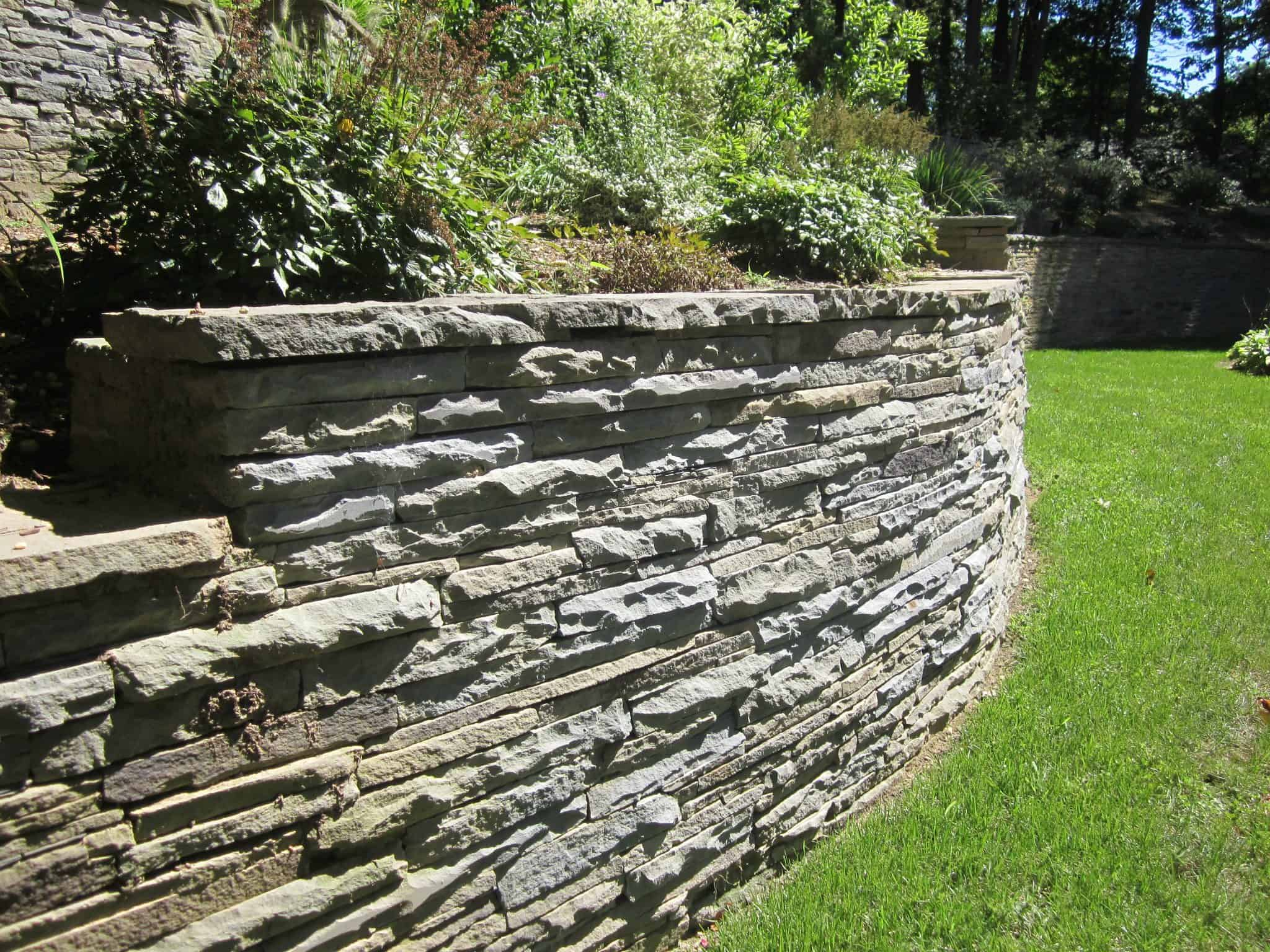 Colonial Stacked Bluestone Retaining Walls with natural cleft - East Setuaket, Long Island NY