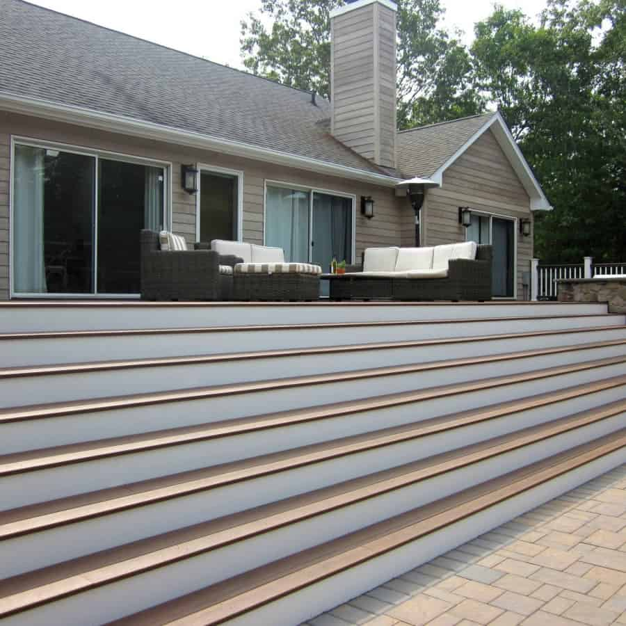 15' x 75' TimberTech Deck with Azek risers and railings - Hampton Bays, Long Island NY
