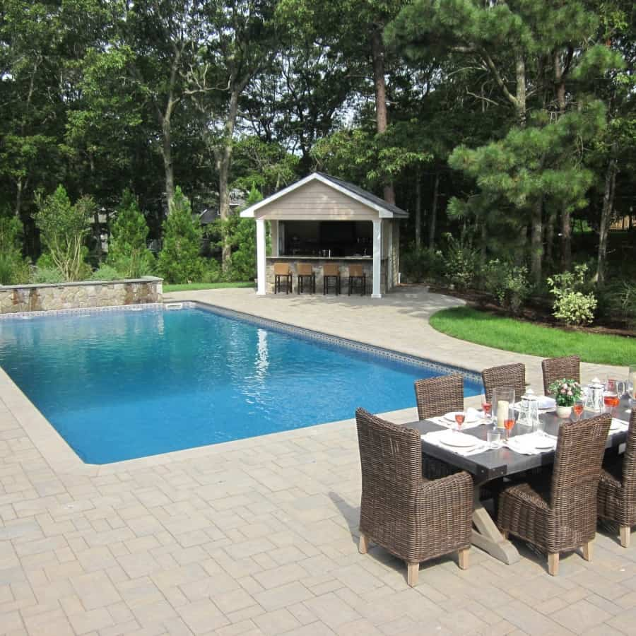 Paver Patio - Cambridge Ledgestone- Toffee Onyx - Pool Patio- Random Pattern - Hampton Bays, Long Island NY