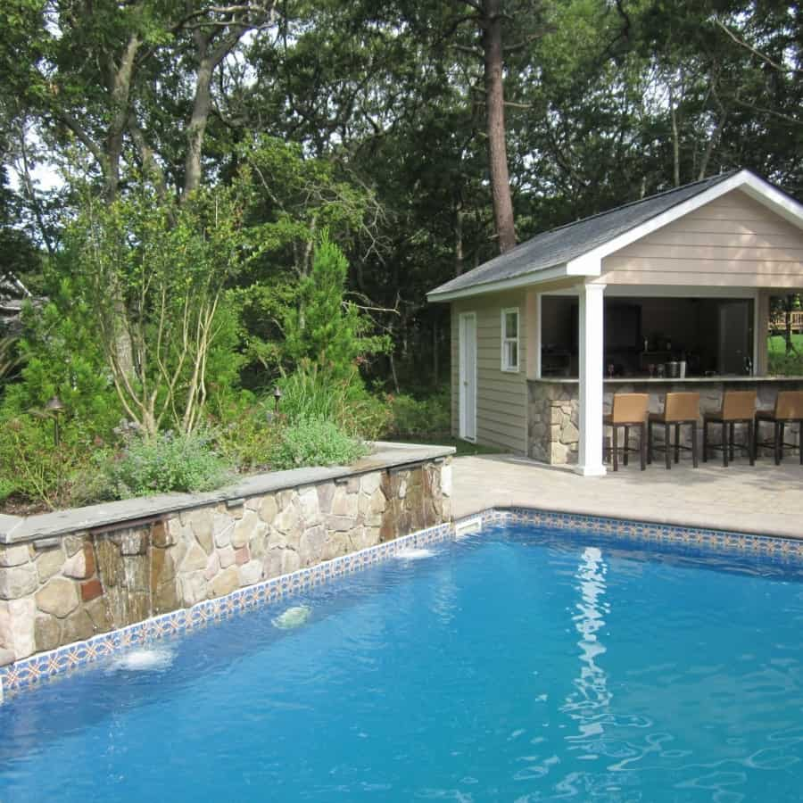 16' x 20' Pool House/Cabana with custom entertainment area and storage room - Hampton Bays, Long Island N