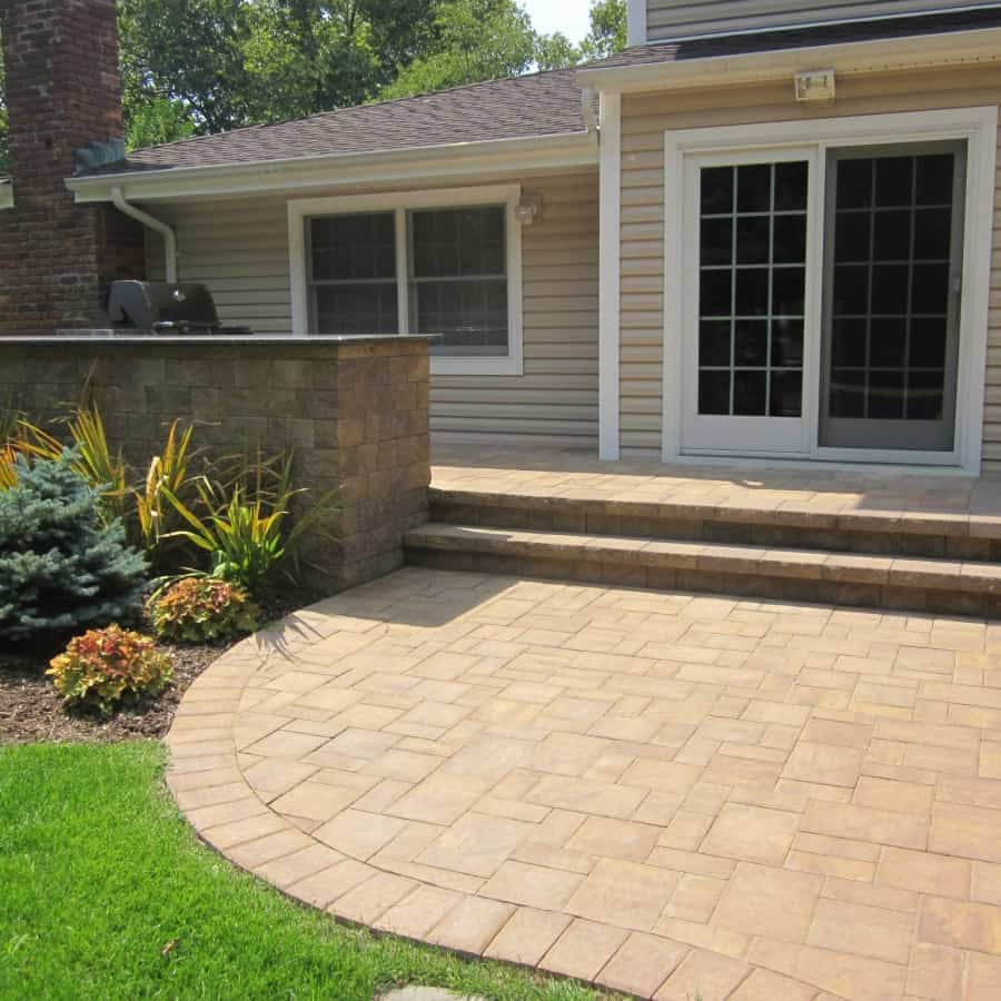 Paver Patio - Cambridge Ledgestone Patio and Stoop -Sahara Chestnut- Random Pattern - Dix Hills, Long Island NY