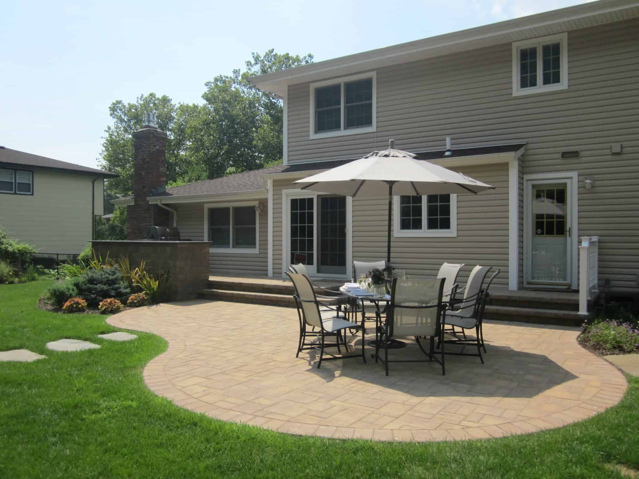 Paver Patio - Cambridge Ledgestone Pool and Stoop -Sahara Chestnut- Random Pattern - Dix Hills, Long Island NY