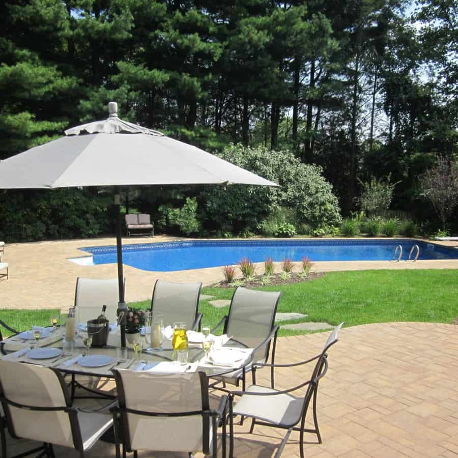 Paver Patio - Cambridge Ledgestone Pool Patio - Sahara Chestnut- Random Pattern - Dix Hills, Long Island NY