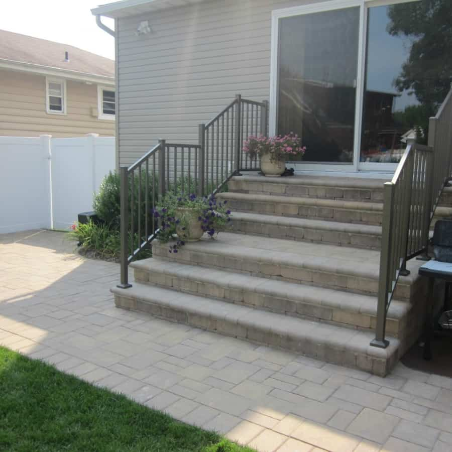 Paver Patio - Cambridge Ledgestone Patio and Stoop -Sahara Chestnut- Random Pattern - Bellmore, Long Island NY