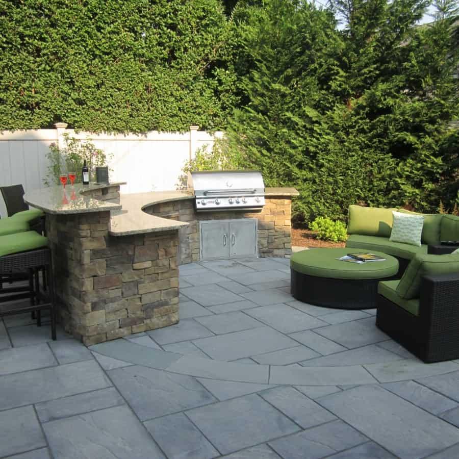 Custom Bi-Level Radial Outdoor Kitchen Bar veneered with Cambridge - Canyon Ledge - Chestnut - Merrick, Long Island NY