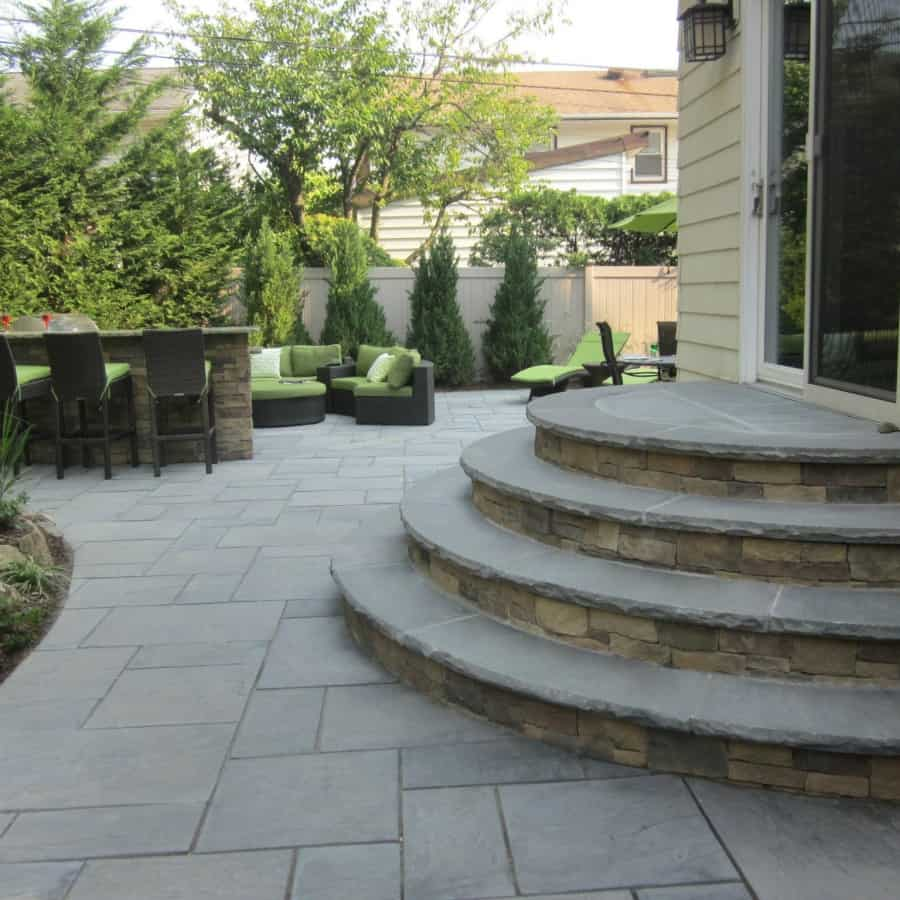 Paver Patio - Cambridge Cast Stone Slab - Bluestone - Merrick, Long Island NY