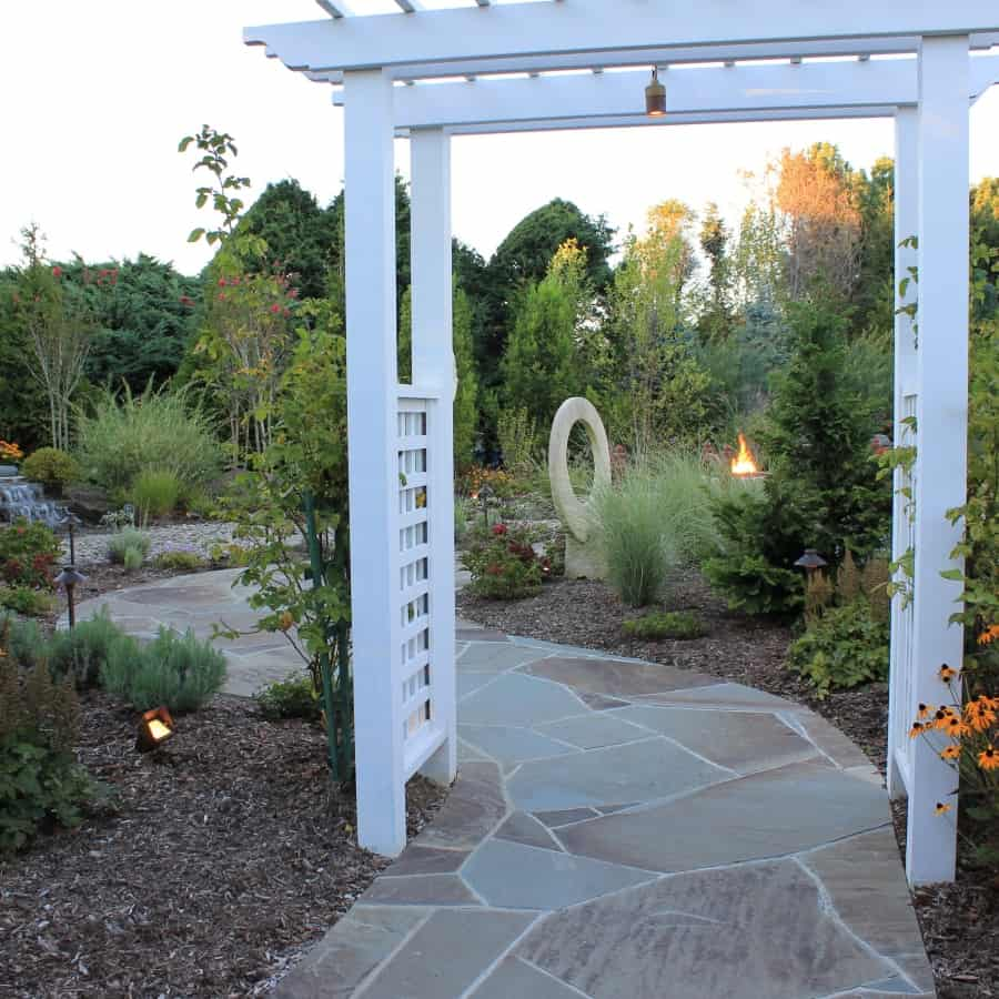 Landscape Plantings - Foreground - Mixed Perennials - Background - Mixed Evergreens - Southampton, Long Island NY