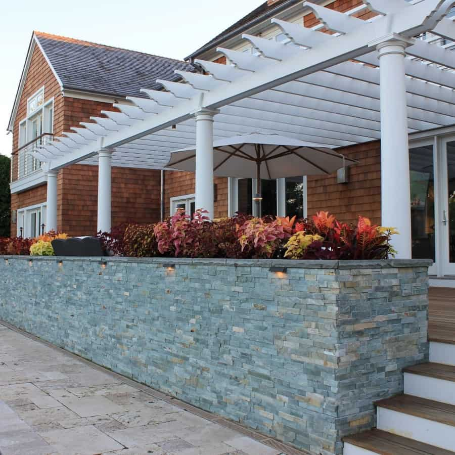 Custom Planter Boxes with Rockfaced Bluestone Cap veneered in East West Stone - Bayside Waters - Southampton, Long Island NY