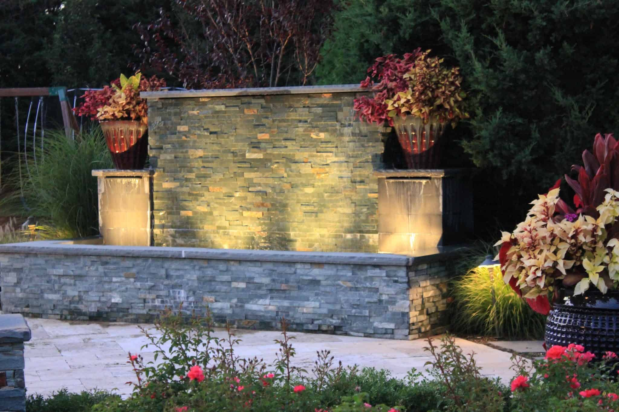 24 inch Glazed Pottery planted with Croton - Southampton, Long Island NY