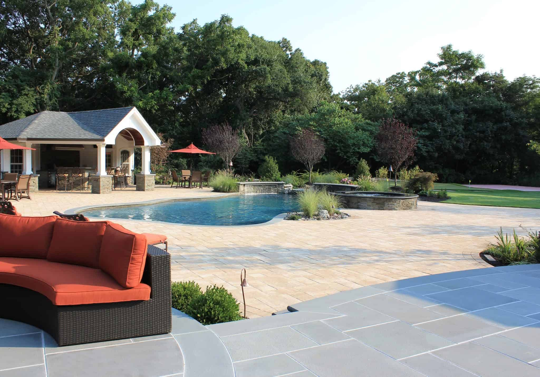 Paver Patio - Nicolock Pool Patio - Travertina - Random Pattern - Old Westbury, Long Island NY