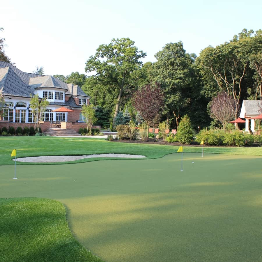 Landscape Plantings - Foreground - Synthetic Putting Green - Background - Thundercloud Plums and Crape Mrytles - Old Westbury, Long Island NY