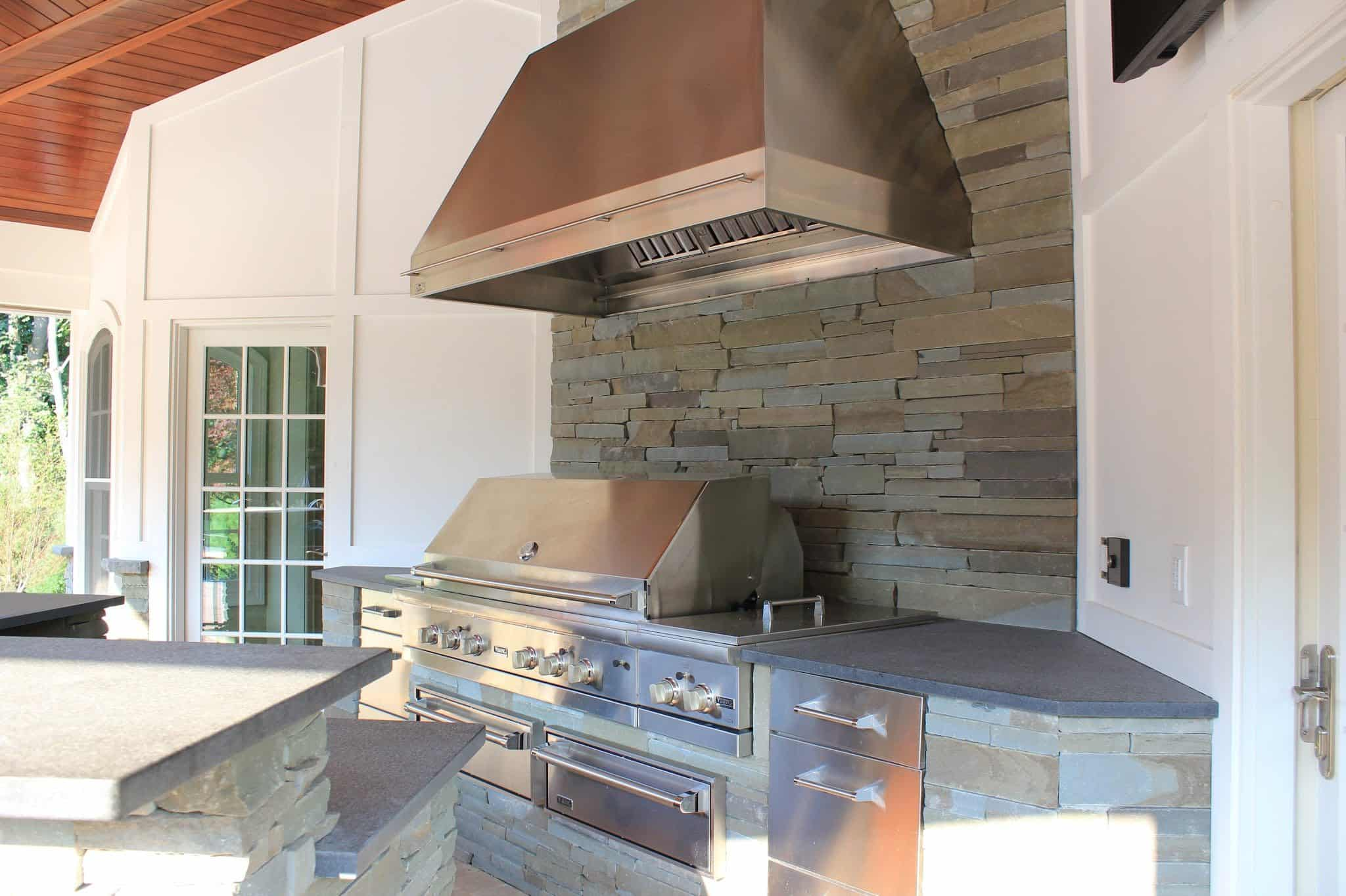 Stacked Bluestone Outdoor Kitchen with Granite countertop - Old Westbury, Long Island NY