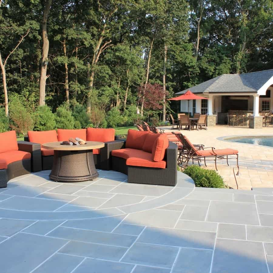 Bluestone Patio with Radial Bluestone Inlay - Old Westbury, Long Island NY