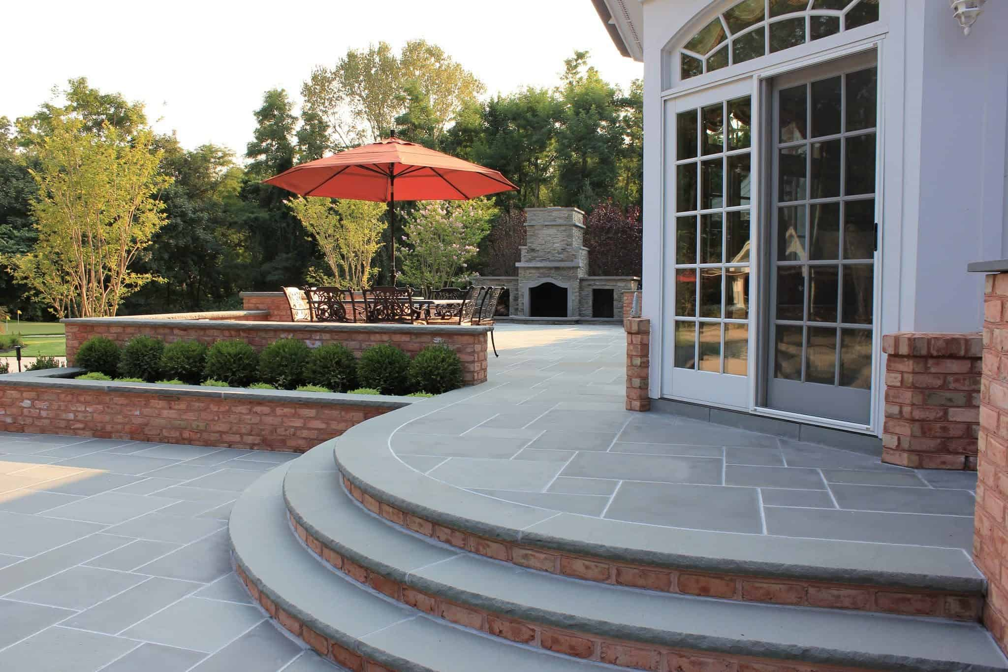 Bluestone Patio with Radial Bluestone Treads - Old Westbury, Long Island NY