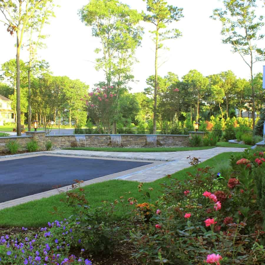 Landscape Plantings - Crape Mrytles with Knockout Rose, Blue Point Juniper and flowering perennials – Center Moriches, Long Island NY