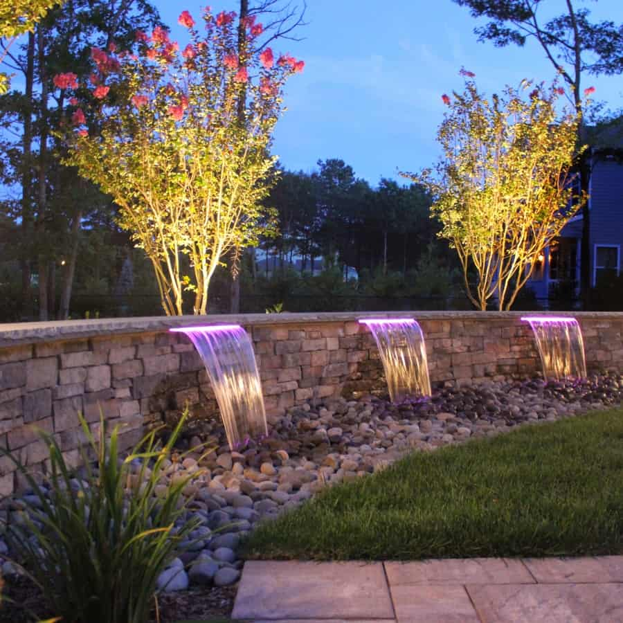 Triple Sheer Descent Waterfalls with LED Lighting with Low Voltage Uplighting – Center Moriches, NY