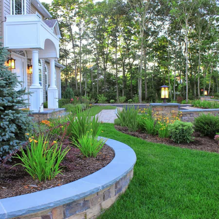 Landscape Plantings - Crape Mrytles with Knockout Rose, Bakeri Spruce and flowering perennials – Center Moriches, Long Island NY