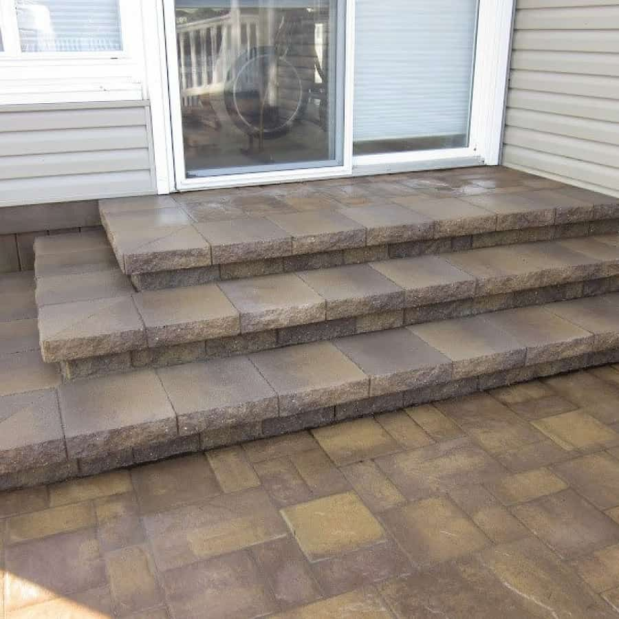 Paver Walkway - Cambridge Ledgeston -Sahara Chestnut Paver Walkway- Random Pattern - Matryx Wall System Paver Steps - Flanders, Long Island NY