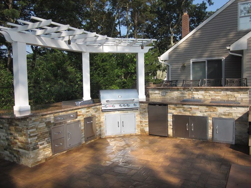 Outdoor Kitchen with Cedar Pergola and Granite Countertop veneered in East West Stone - Honey Gold - Flanders, Long Island NY